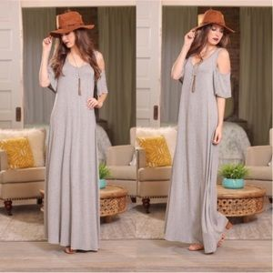 LAST ONE Infinity Raine M Cold Shoulder Maxi Dress